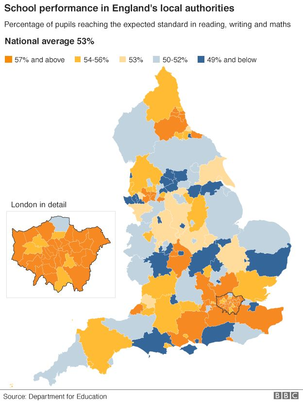 map showing school performance in England's local authorities