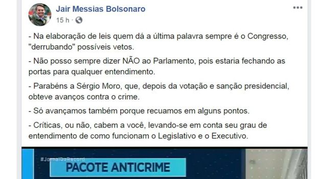 Post no Facebook de Bolsonaro