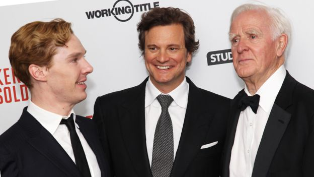 (L-R) Actors Benedict Cumberbatch, Colin Firth and writer John le Carre at the premiere of the film adaptation of Tinker Tailor Soldier Spy in 2011, London