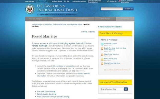 Página web del Departamento de Estado de EE.UU.