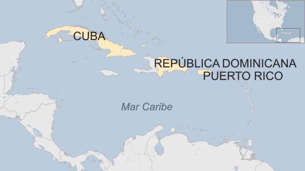Mapa de la región del Mar Caribe con Cuba, República Dominicana y Puerto Rico marcados.
