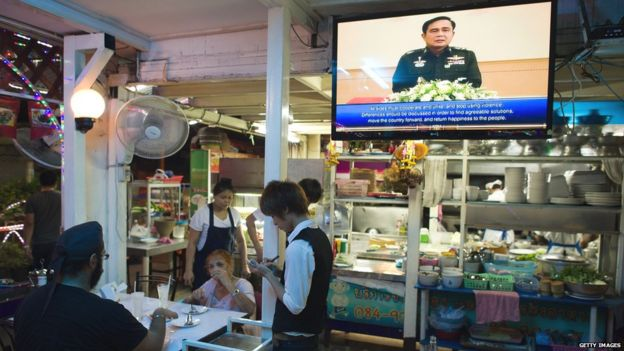 Giant TV screen in Thai restaurant