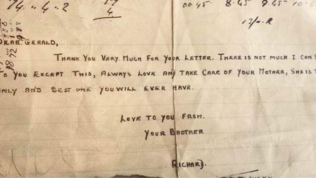 Richard Penny寫給五歲弟弟的信