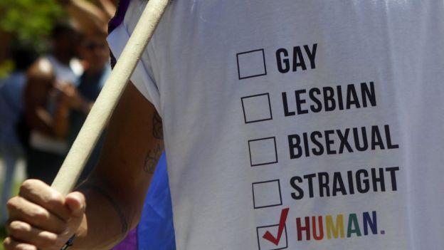 Un cartel con distintas opciones sexuales y una marca en la casilla Humano