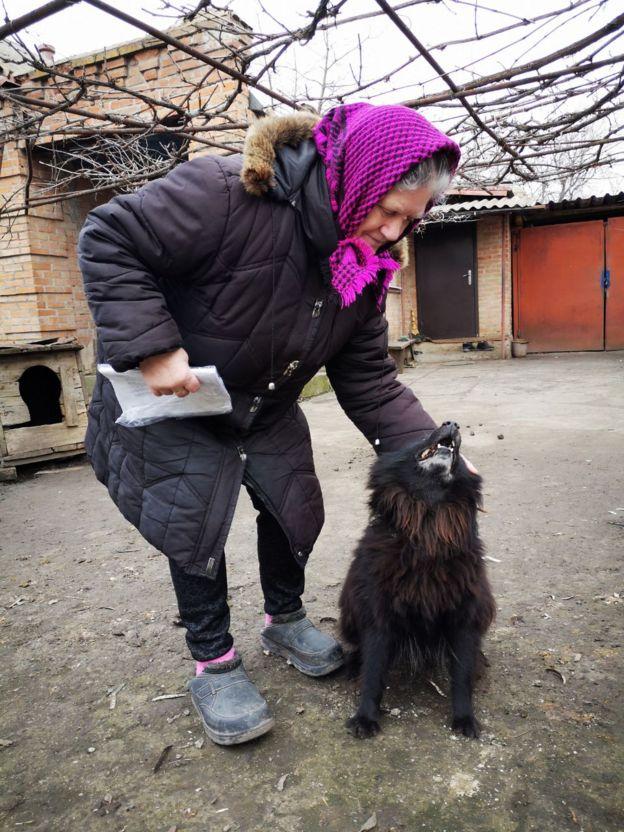 Lyubov Kolyucha and her dog