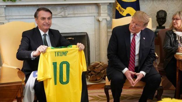 Bolsonaro e Trump em encontro na Casa Branca