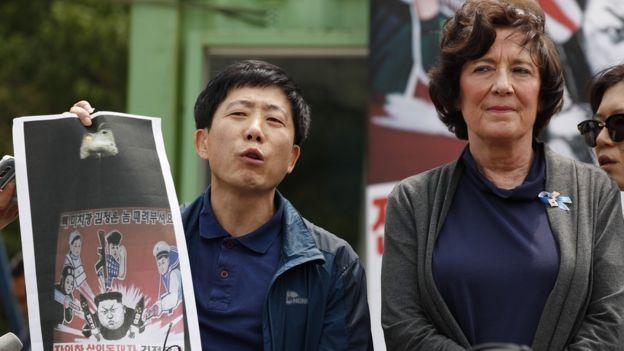 Manifestación contra Kim Jong-un en Corea del Sur.