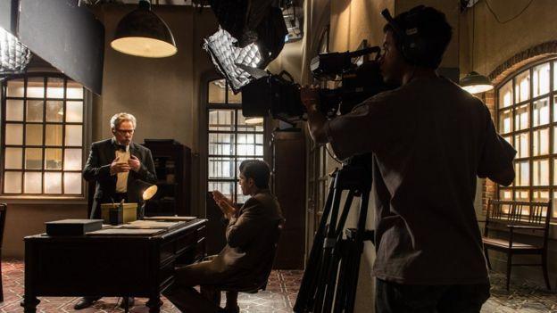 Grabación de una telenovela en TV Globo.