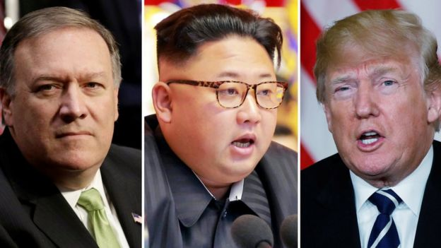 Mike Pompeo (right), Kim Jong-un and Donald Trump