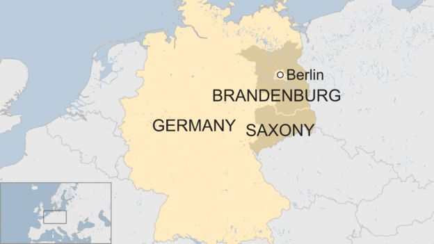 Map of Germany highlighting Saxony and Brandenburg