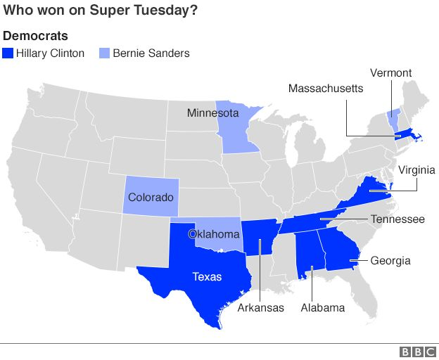 Map showing breakdown of Republican results on Super Tuesday