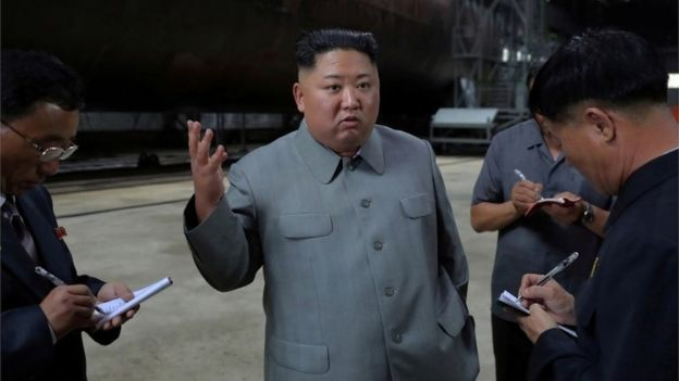 Kim Jong-un inspects a submarine facility in N Korea