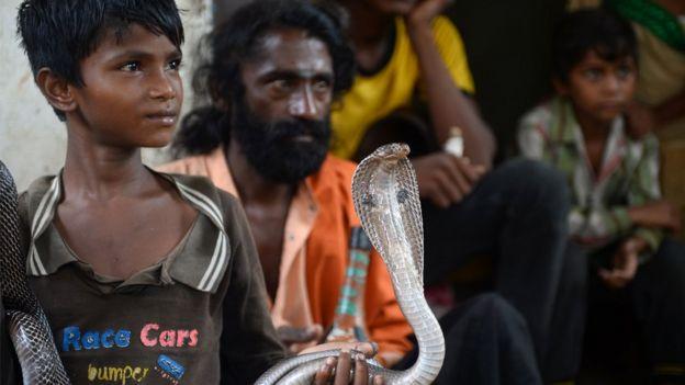 Menino indiano segura uma serpente em Alaabaad, na Índia