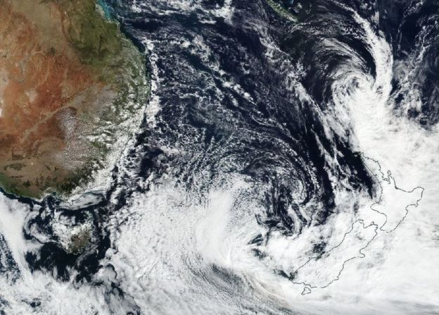 Nasa satellite photo of Cyclone Cook approaching New Zealand, 12 April 2017 (issued 13 April 2017).