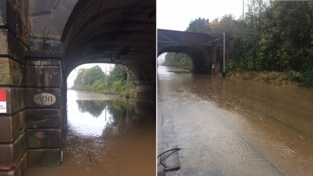 Flooding on the main railway line in Staffordshire