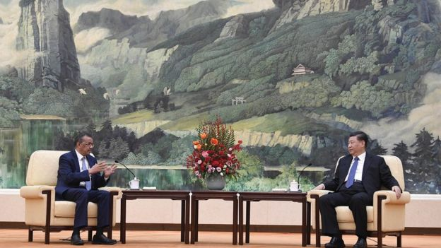Dr Tedros Ghebreyesus, director general of the WHO, meets with President Xi to discuss the outbreak