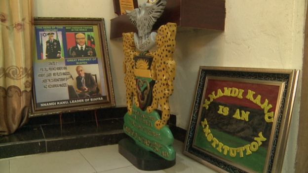 plaques and portraits dedicated to Nnamdi Kanu the Igbo leader.