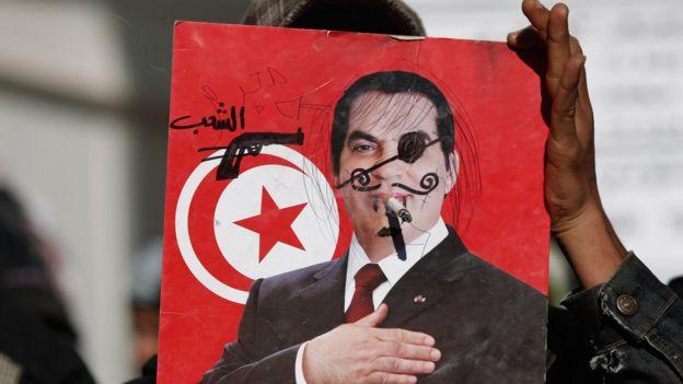 A 2011 placard condemning Tunisia's ousted leader Zine al-Abidine Ben Ali