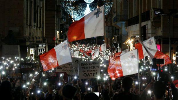 demonstrators in Valletta