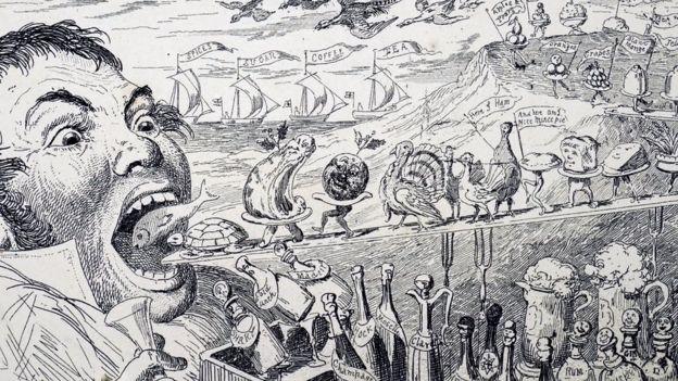 بنا براین کاریکاتور بریتانیایی قرن ۱۹، یک وعده غذای کریسمس ممکن است از کنترل خارج شود.