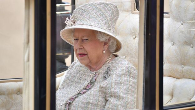 The Queen arrives at Trooping the Colour