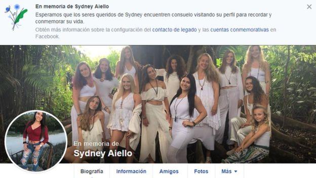 Página de Facebook de Sydney Aiello