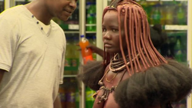 Himba woman in supermarket