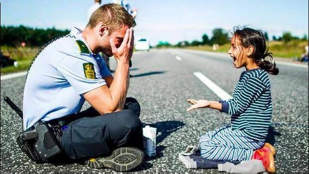 Danish police officer and young girl