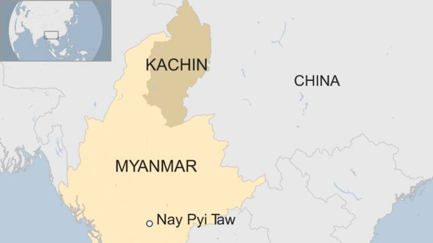 Map of Kachin state in Myanmar