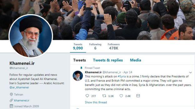 Iranian Supreme Leader Ali Khamenei's Twitter homepage
