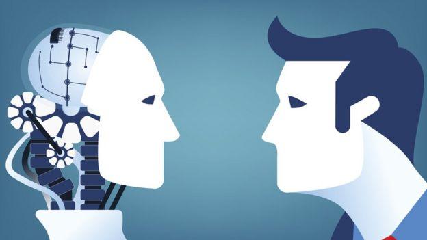 Gráfico de un hombre mirando a un robot