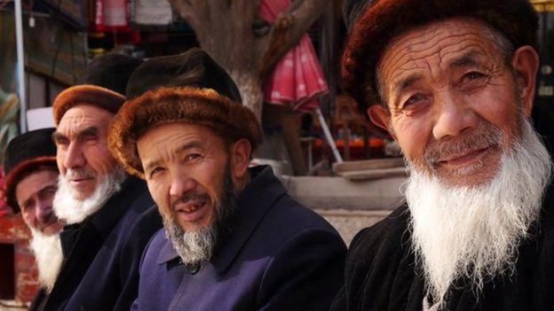 Bearded elderly Uighurs in Xinjiang province