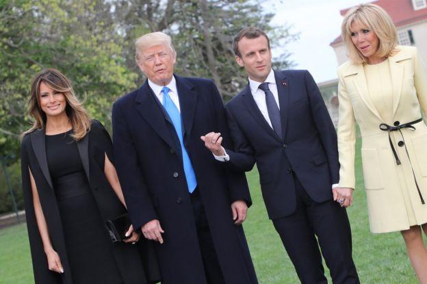 Melania Trump, Donald Trump, Emmanuel Macron and his wife,