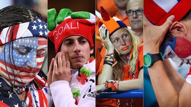 Los hinchas de Estados Unidos, Italia, Holanda y Chile han sufrido decepciones en los últimos años.