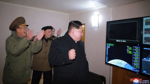 Kim Jong-un and aides celebrate the Hwasong-15 launch