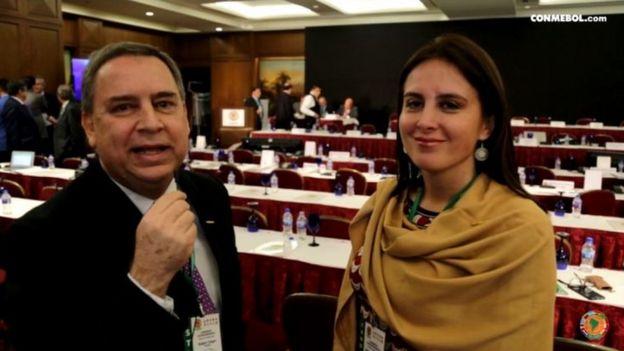 Esta imagen fue extraída de una video de la Conmebol, que fue transmitido el 13 de mayo de 2016 y el que se anunciaba la histórica designación de Muñoz como representante en la FIFA.