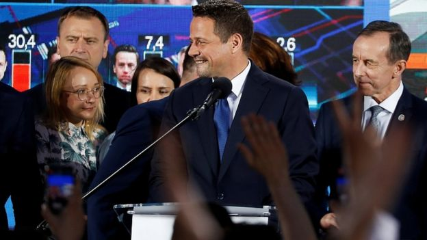 Rafal Trzaskowski of the main opposition Civic Platform party, reacts after the exit poll in Warsaw, Poland, June 28, 2020