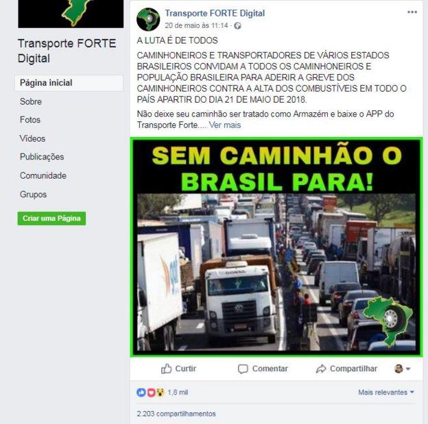 Reprodução da página Transporte Forte Digital, no Facebook
