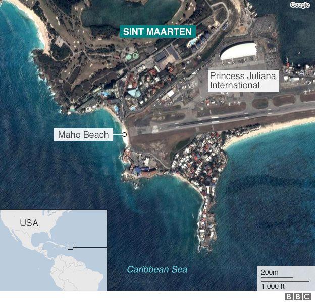 Aerial image of Maho beach and Princess Juliana International airport