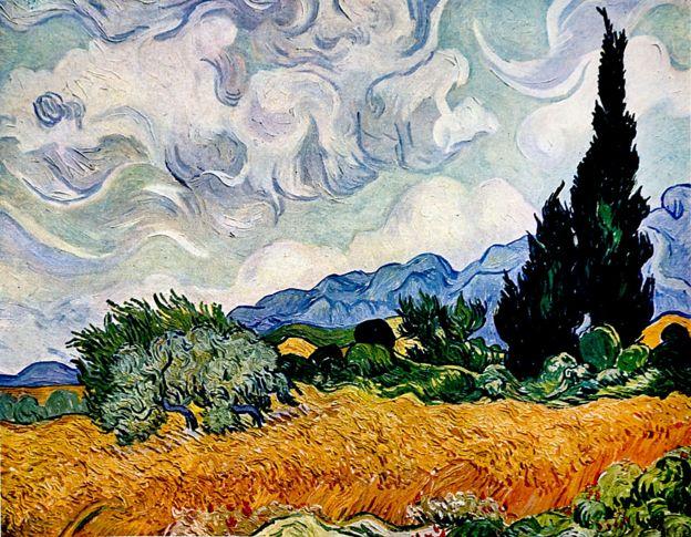 """""""Campo de trigo com cipreste"""", de Vincent Van Gogh"""