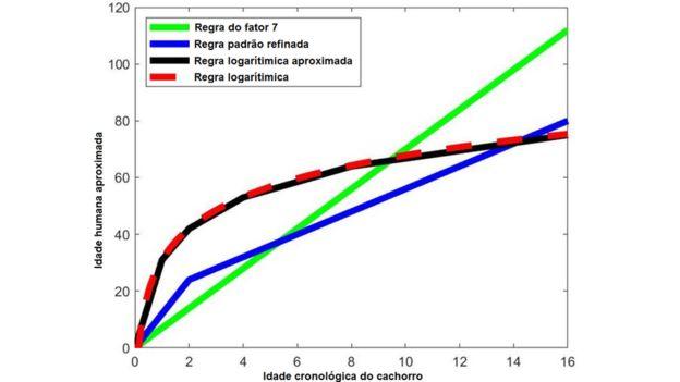 Gráfico compara idade de humanos com a de cães