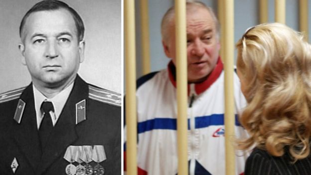 Side-by-side image with undated image of Skripal in uniform and him behind bars in Moscow