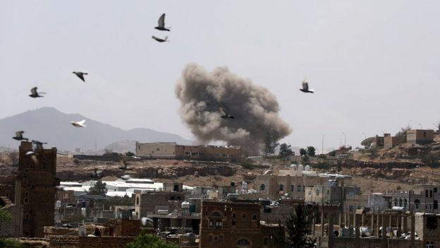 Smoke rises from Sanaa, Yemen, after a reported air strike (30 March 2020)