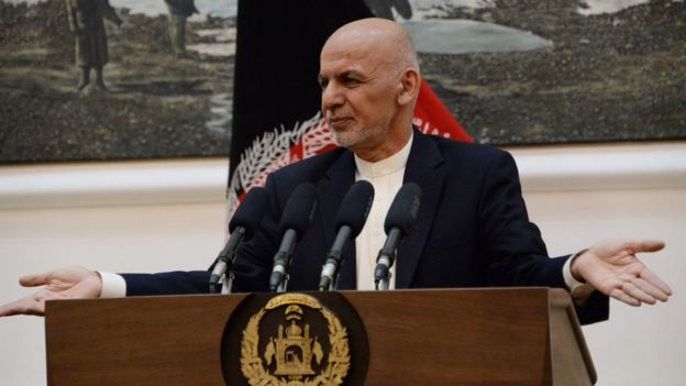 The president of Afghanistan, Ashraf Ghani.