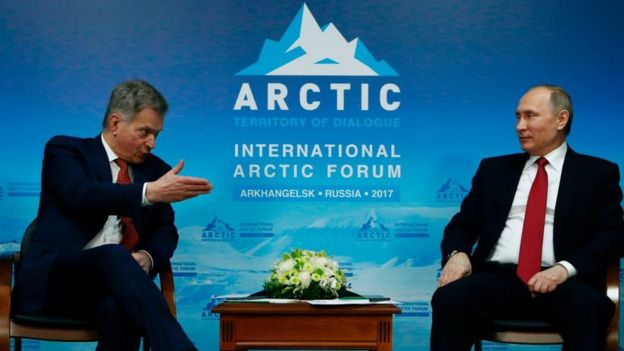 El presidente de Finlandia, Sauli Niinisto, y su par ruso, Vladimir Putin.