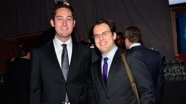 Os fundadores do Instagram Kevin Systrom e Mike Krieger em 21 de maio de 2012 na cidade de Nova York