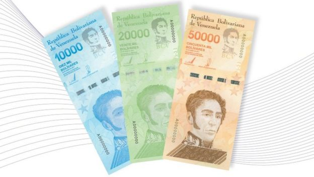 Nuevos billetes de 10.000, 20.000 y 50.000 bolívares.