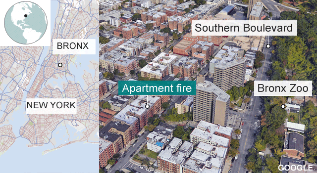 Map of Bronx fire