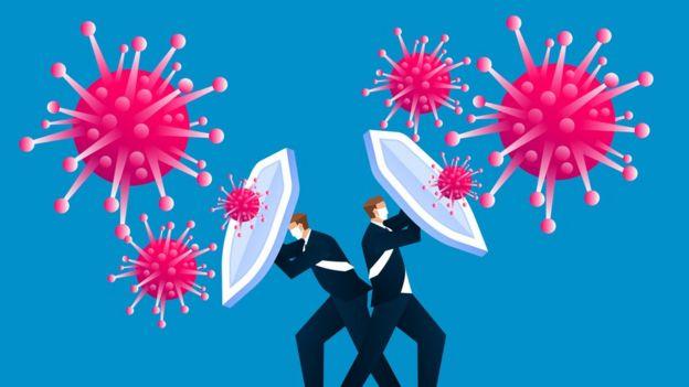 hombres con escudos frente al virus