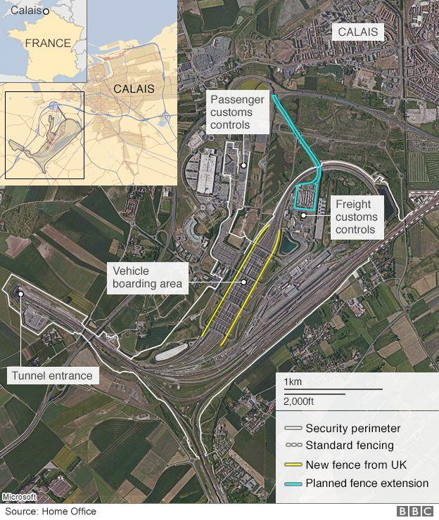 Map of Eurotunnel perimeter